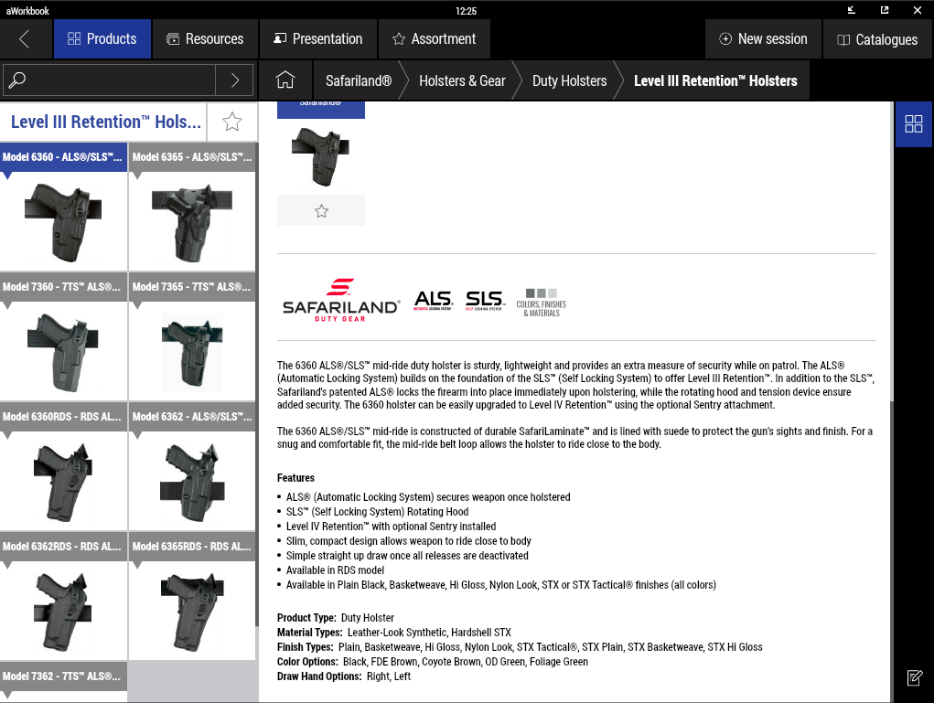 Safariland® E-Catalog product information screenshot
