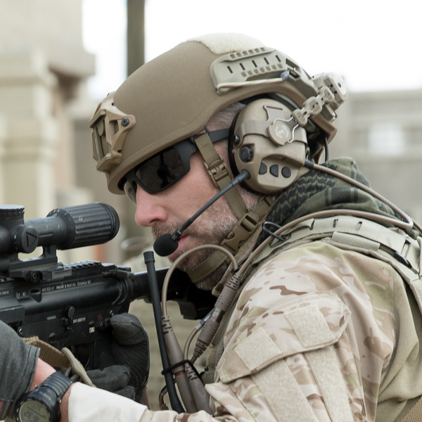 Military Operator in a Delta Helmet and Liberator Headset